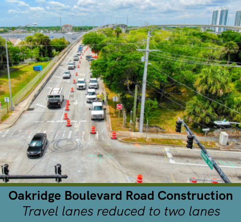 Oakridge Boulevard with road construction
